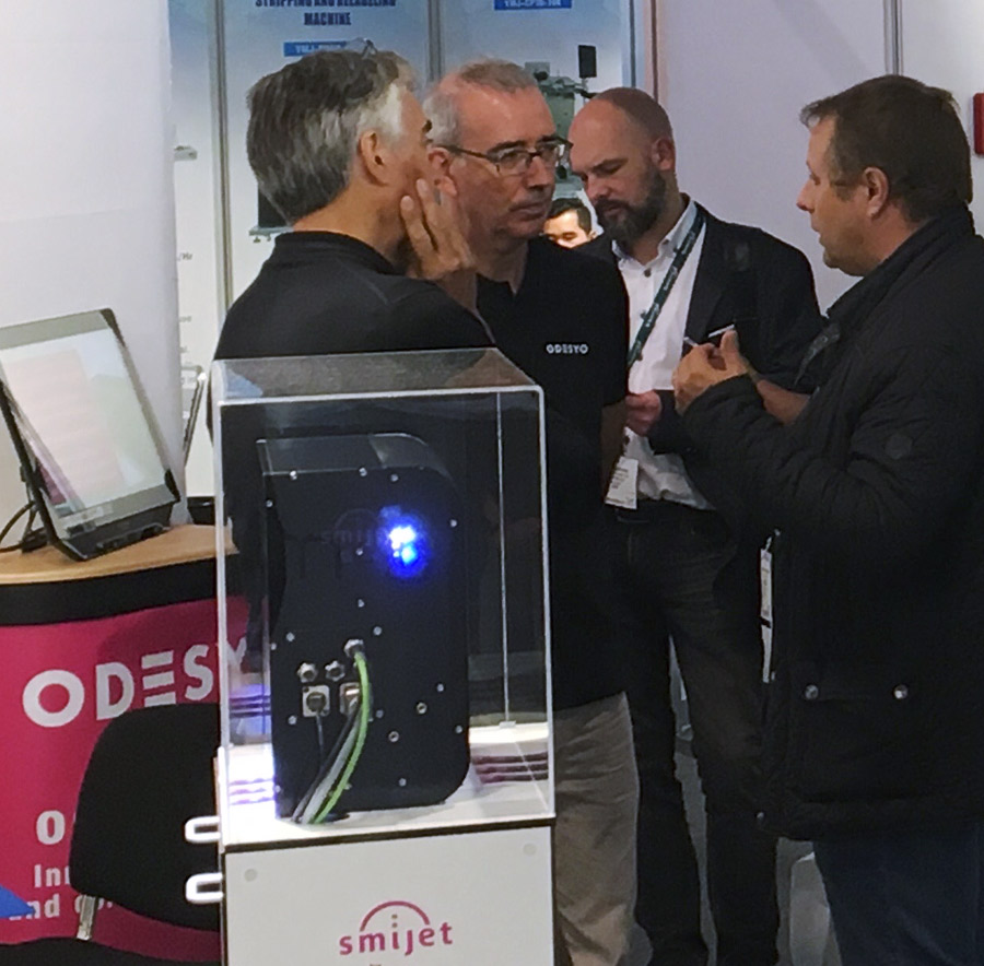 Visitors at the Odesyo Booth during LabelExpo 2019 exhibit